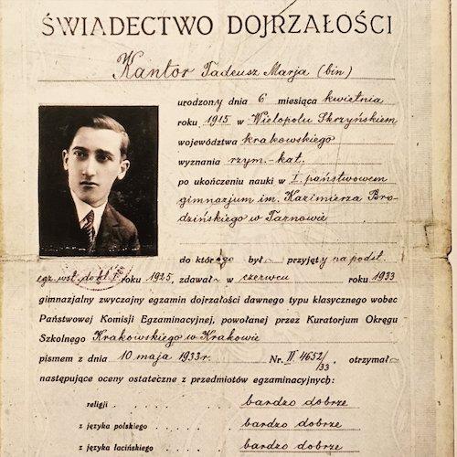 Świadectwo dojrzałości Tadeusza Kantora (c) Fundacja im.Tadeusza Kantora