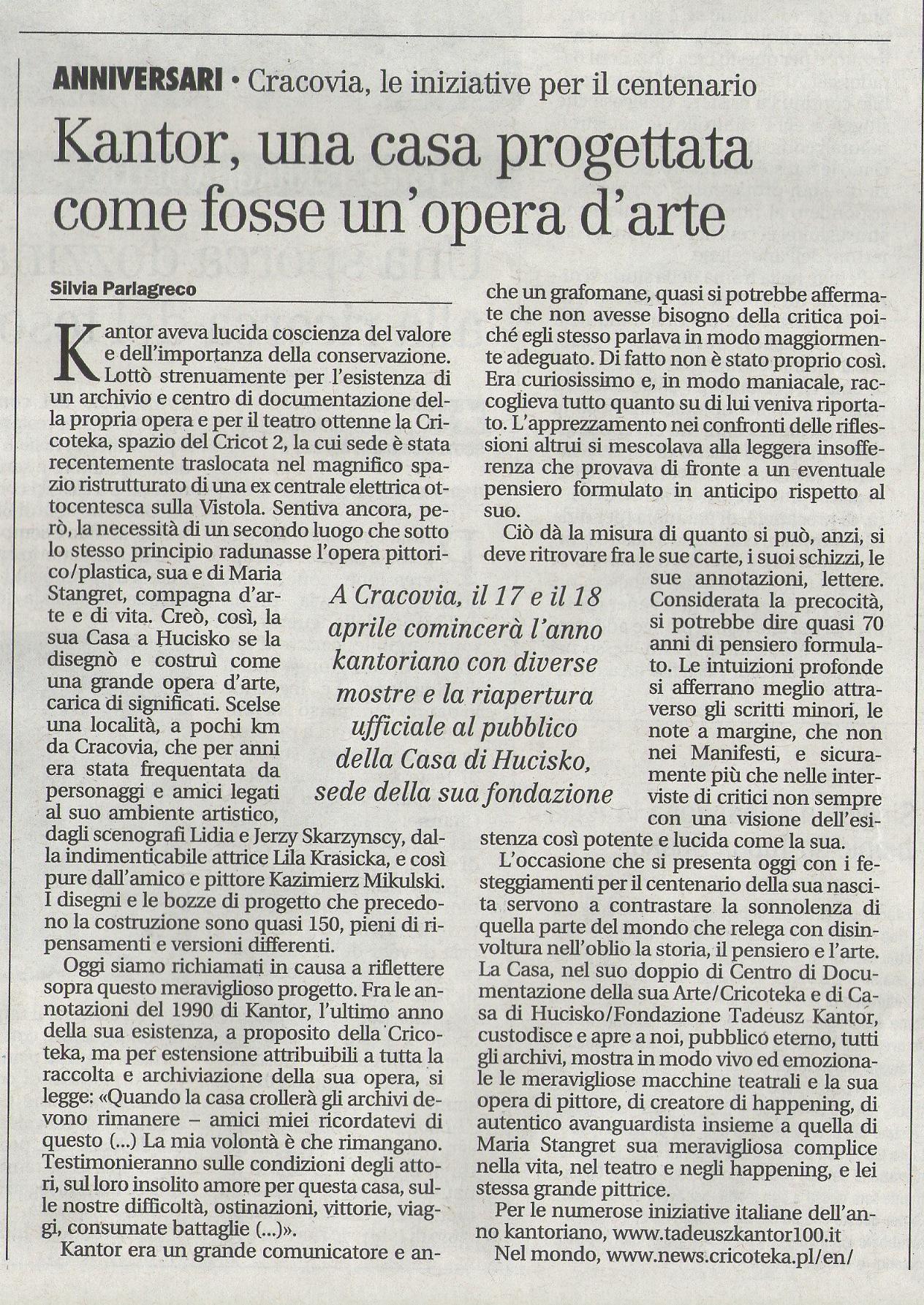 Silvia Parlagreco oTadeuszu Kantorze wIl Manifesto, 16 kwietnia 2015